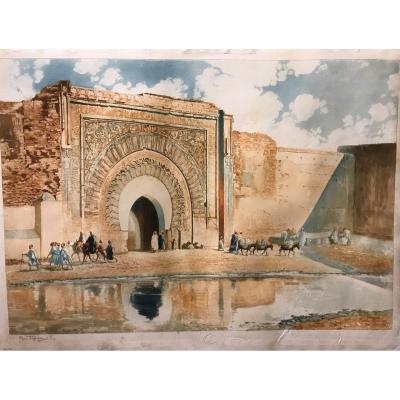 Maurice Romberg (1861 -1943) -Marrakech - Vue de Porte d'Agnaou - Bab Agnaou