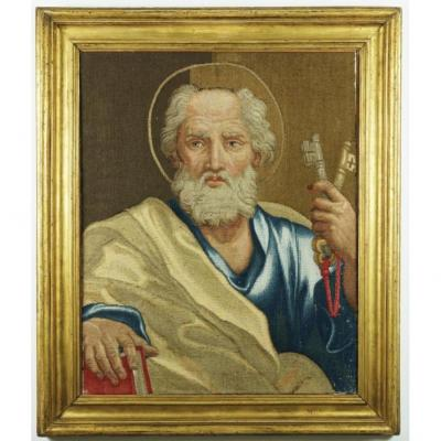 Saint Peter, Very Rare Vatican Manufactured Tapestry ... First Half Of The Eighteenth Century.