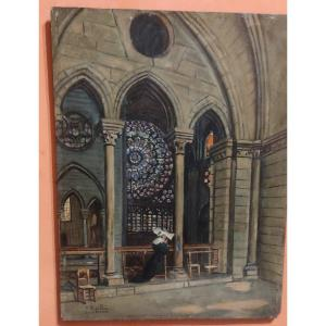 Oil Painting On Wood From The End Of The 19th Century Signed View Of Notre Dame De Paris