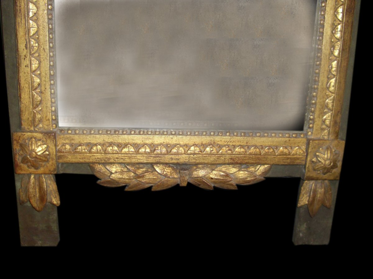 Miroir Louis XVI En Bois Doré-photo-3