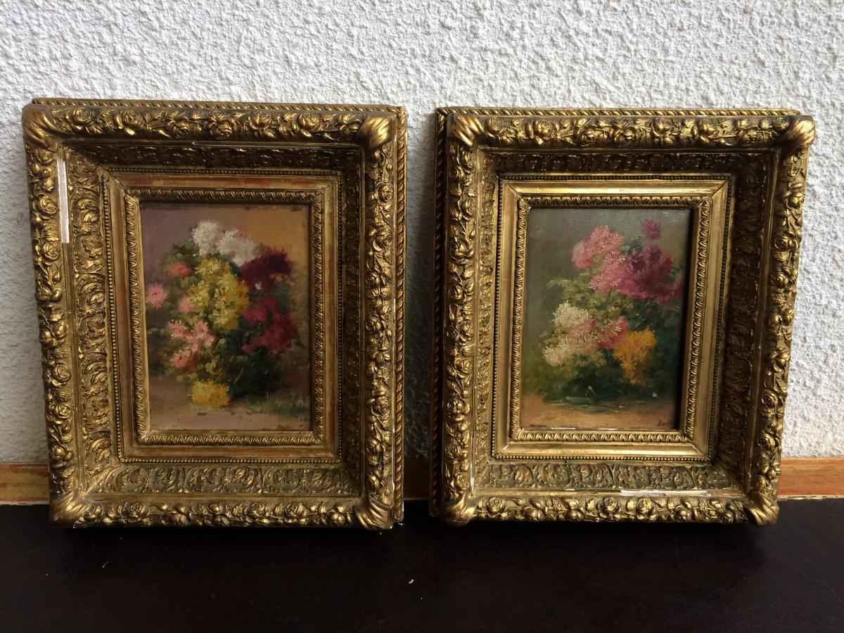 BERTIN (Ec. Française du XIXème siècle) - Bouquets de fleurs