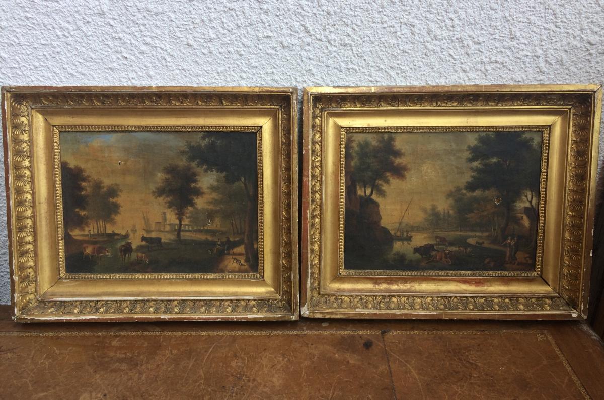 Paire de tableaux hollandais, XIXème siècle