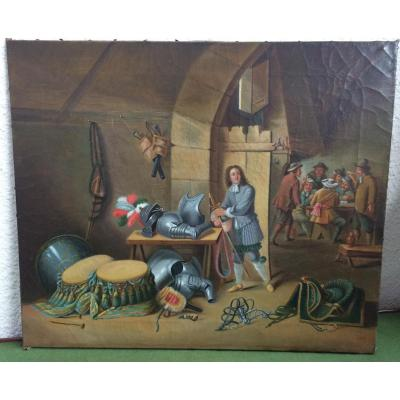 Huile sur toile, XIXème siècle : la salle de garde