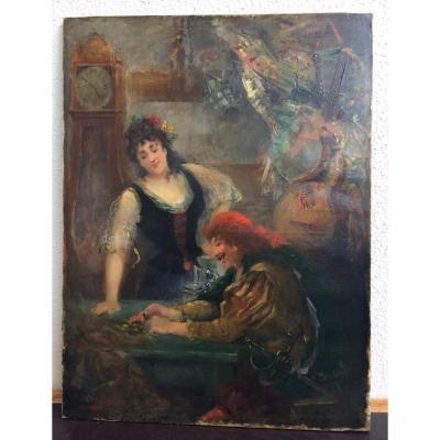 Huile sur toile, fin du XIXème siècle - Scène de taverne