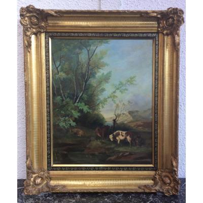 Cadre avec tableau de A. GAUDIN, XIXème siècle
