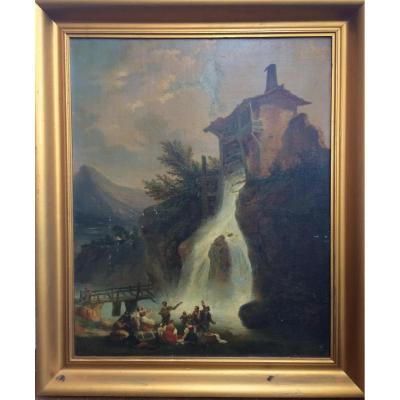 Ecole Suisse du XIXe siècle - Pique-nique au pied du moulin
