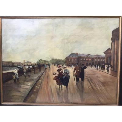 RIMARD Louise (XIXème siècle) - Le quai Conti animé