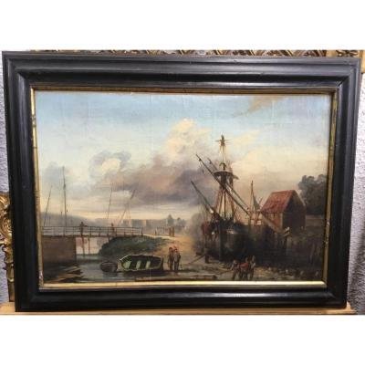 19th Century Dutch School - View Of A Harbor