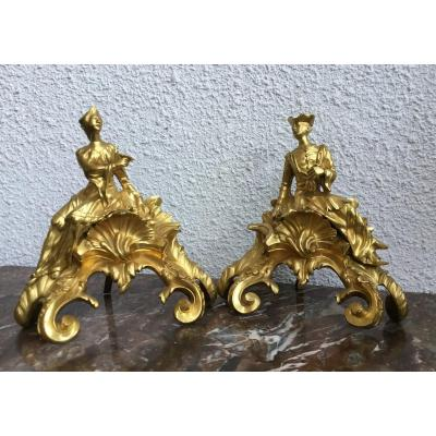 Pair Of Andirons, 18th Century