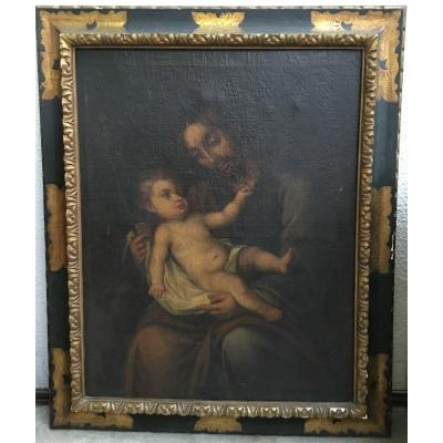 18th Century Spanish School - Saint Joseph And The Infant Jesus