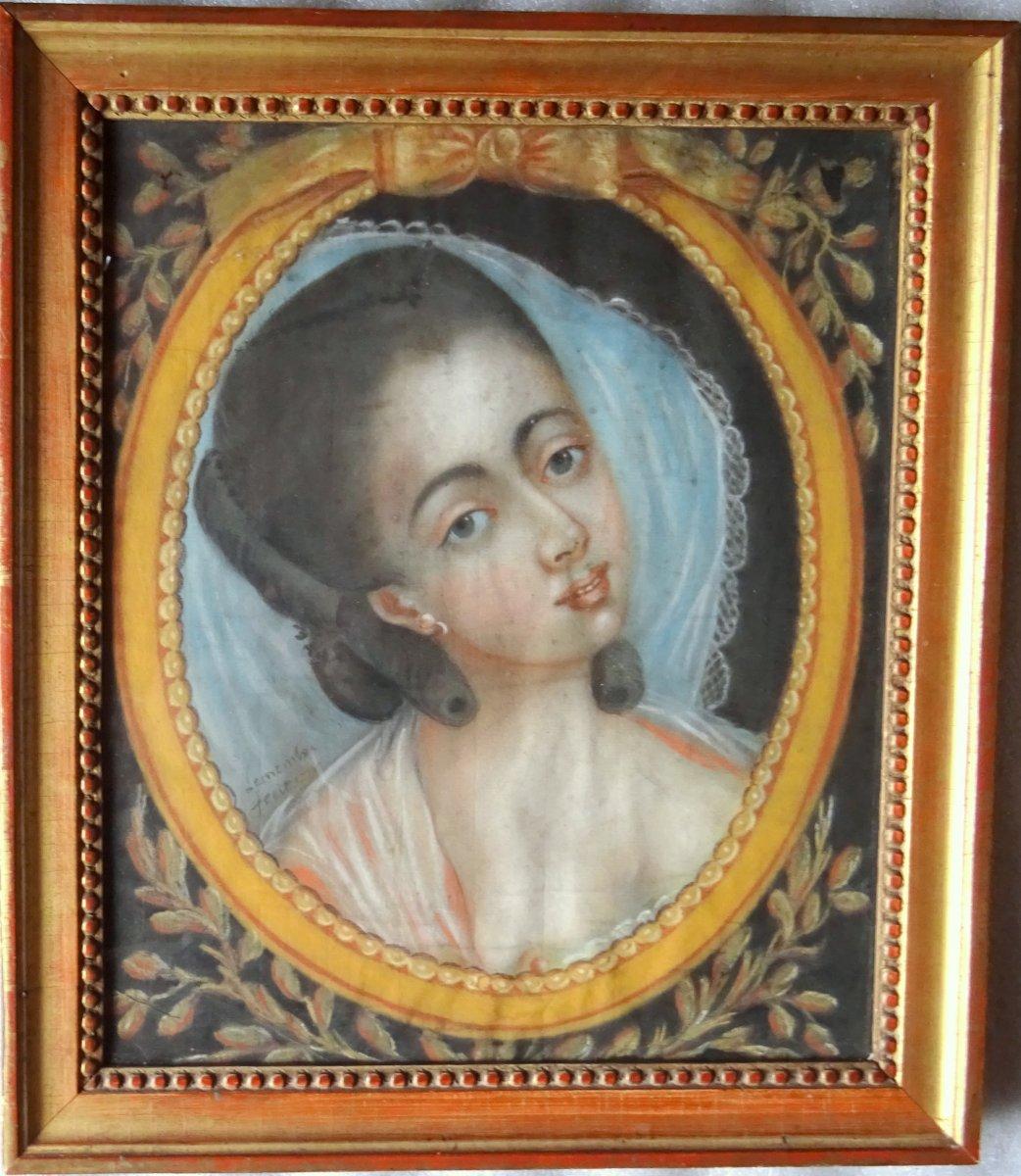 Portrait De Jeune Femme Epoque Louis XVI Ecole Française XVIIIième Siècle Pastel