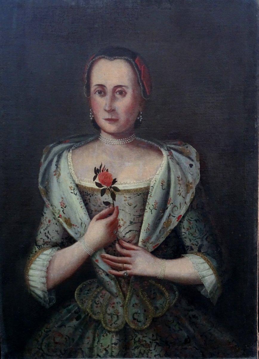 Portrait De Femme Epoque XVIIIème Ecole Allemande Hst (johannes Michael)