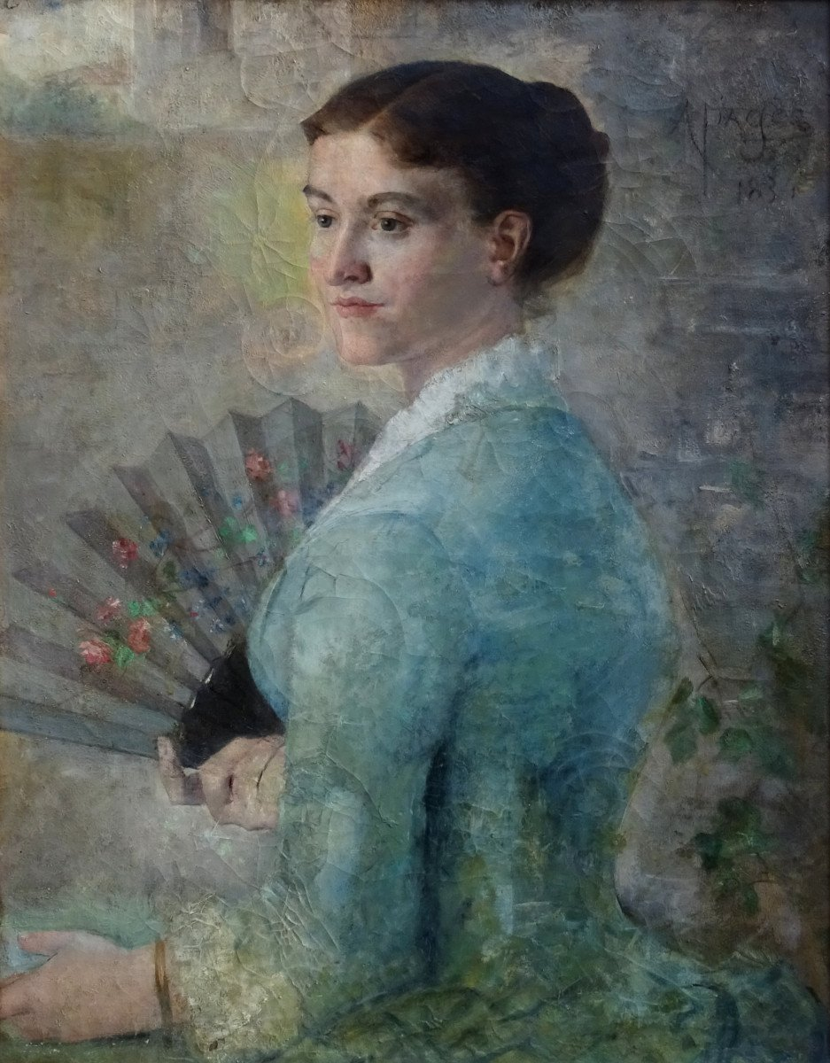 Alfred Pagès Portrait Of Woman French School From The End Of The XIXth Century Hst-photo-4
