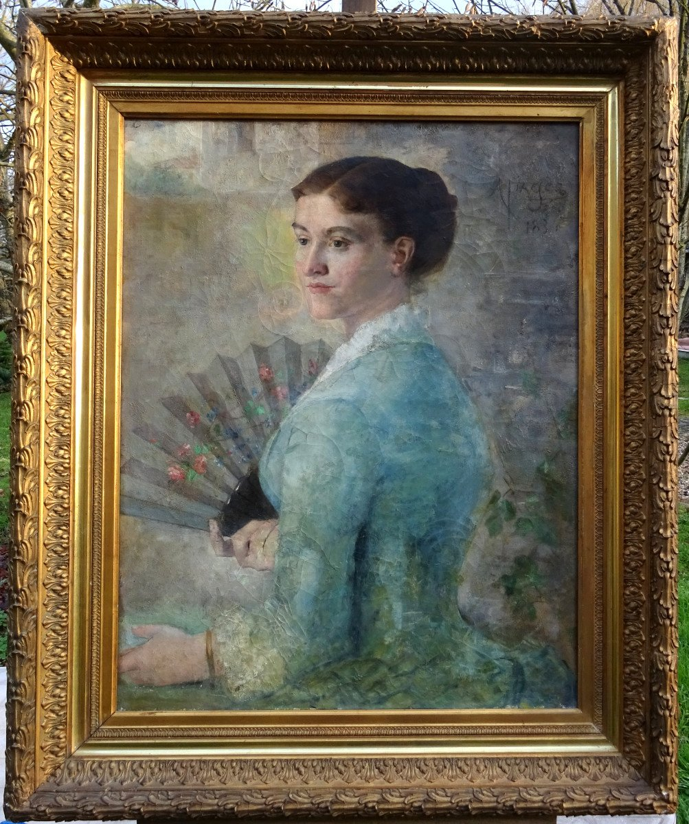 Alfred Pagès Portrait Of Woman French School From The End Of The XIXth Century Hst