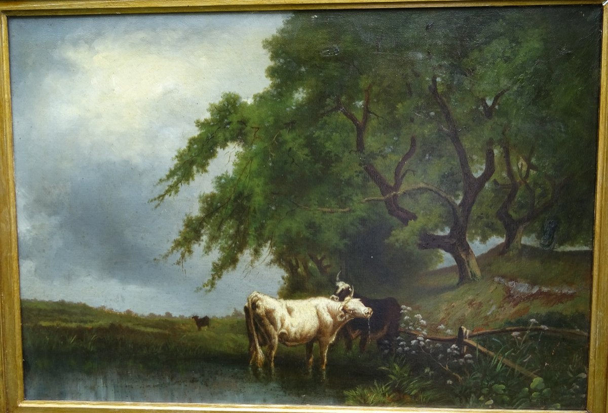 Table Of Cows Animated Landscape Oil On Canvas From The End Of The XIXth Century-photo-3