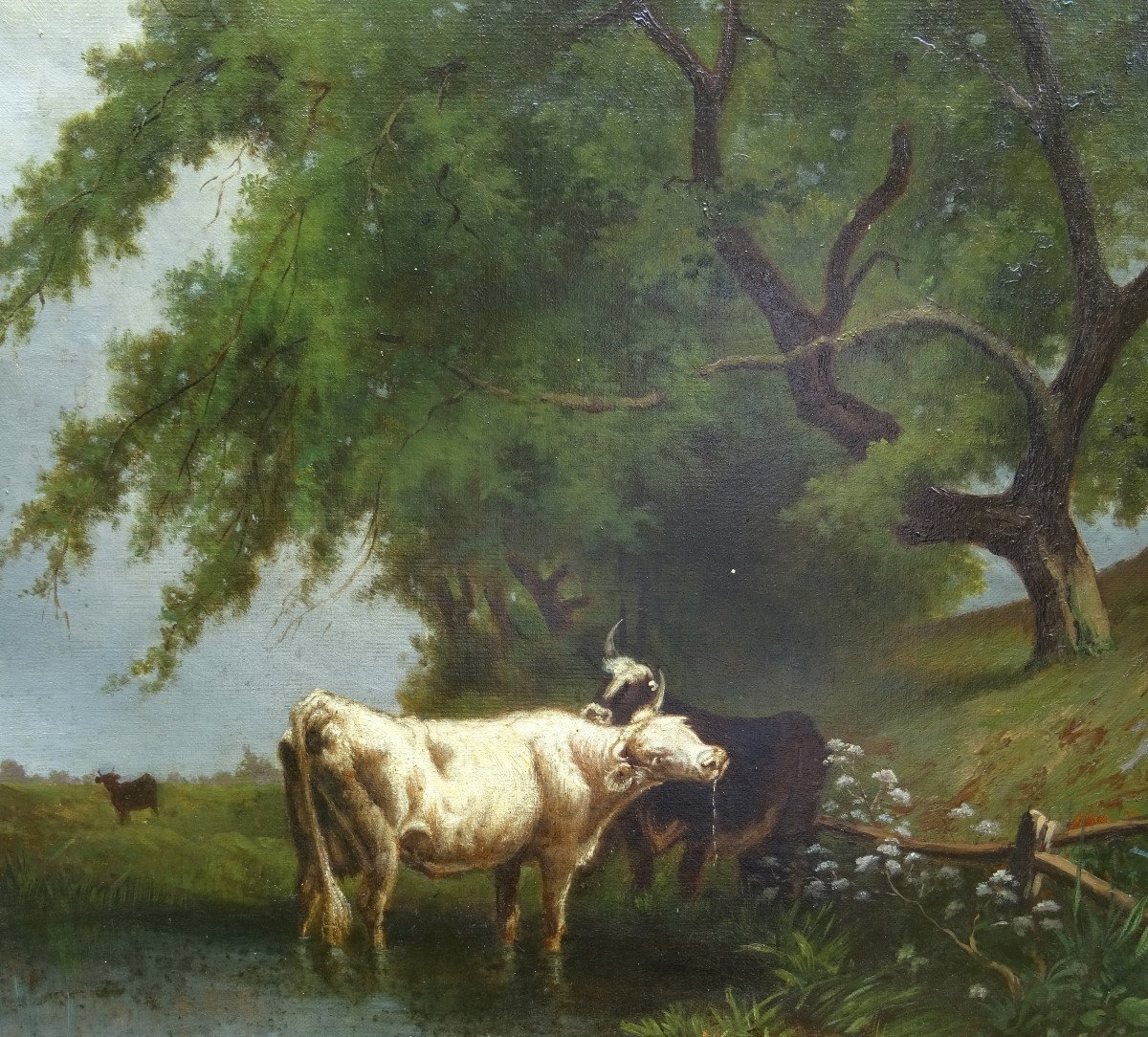 Table Of Cows Animated Landscape Oil On Canvas From The End Of The XIXth Century-photo-1