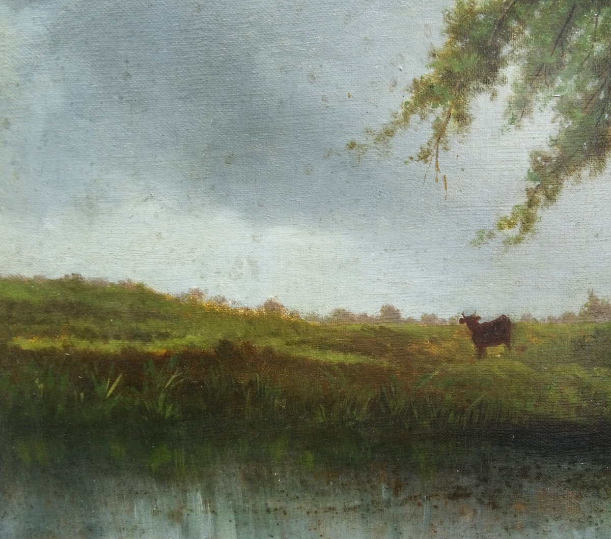 Table Of Cows Animated Landscape Oil On Canvas From The End Of The XIXth Century-photo-5