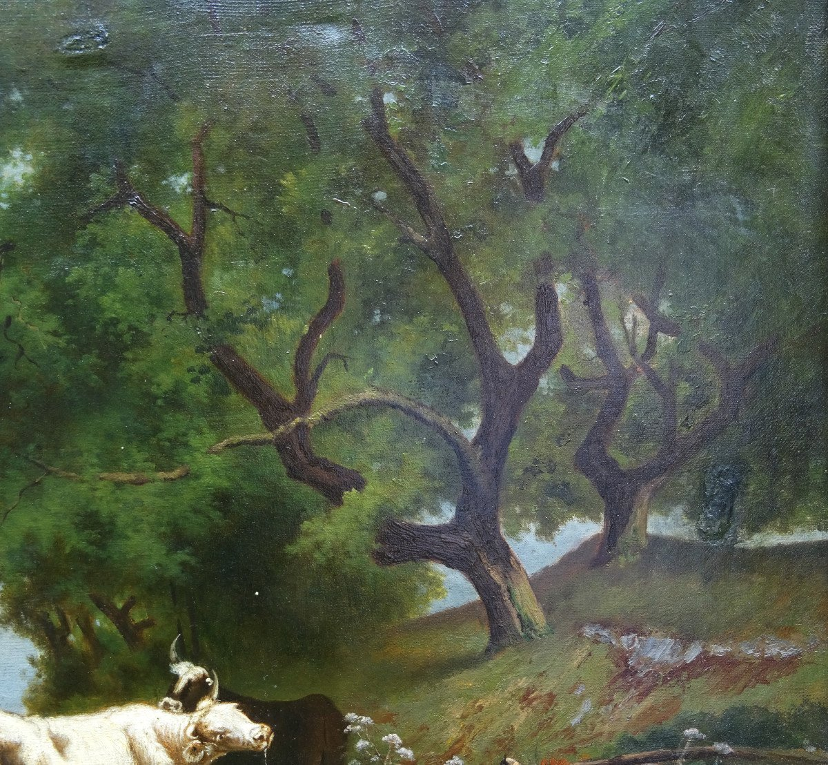 Table Of Cows Animated Landscape Oil On Canvas From The End Of The XIXth Century-photo-6