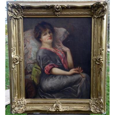 M Chantelauzen Portrait De Femme Hst Ecole Française XIX-xxème Siècle