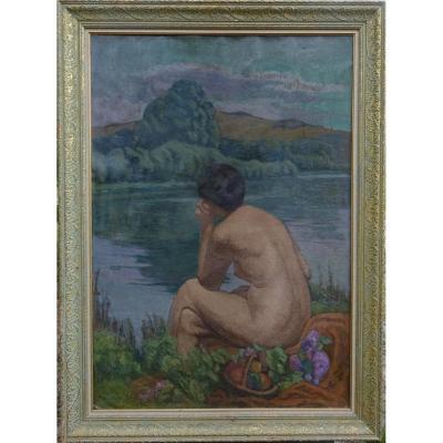 Henri Lavoué Grand Portrait Baigneuse Post Impressionniste Déb XXème Siècle Hst