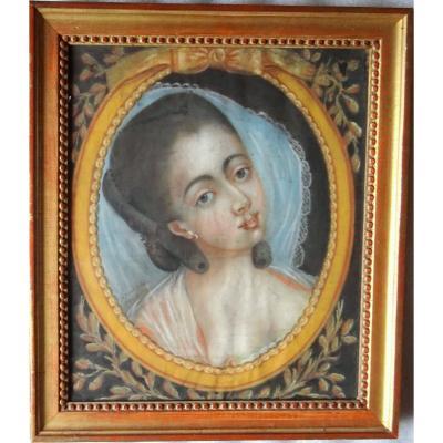 Portrait Of Young Woman Louis XVI Eighteenth School French School Pastel