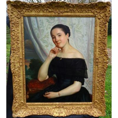 Tony Dury Portrait Of Young Woman Louis Philippe Period Hst XIXth Century 1845