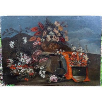 Tableau Nature Morte Aux Bouquets De Fleurs Ecole Naïve Du XVIIème Siècle Hst