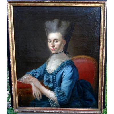 Delerive Portrait Of Woman Louis XVI Period French School XVIIIth Century Hst