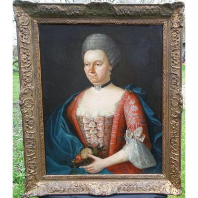 Portrait Of Woman Moët De Sauvergny De Miremont De Berrieux Hst XVIII L XV
