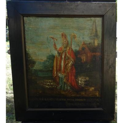 Saint Blaise French School Of The XVIIIth Century Religious Table Oil On Canvas