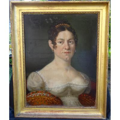 Portrait Of Woman Mrs Kayser Period I Empire XIXth Century Hsp Alsace