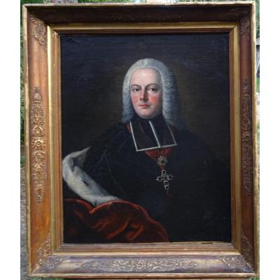 Portrait Of A Prelate Man In The Coat Of Hermine Hst XVIIIth Century Flemish School