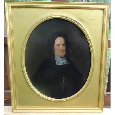 Portrait Of A Man Prelate From The Louis XIV Period Oil On Tin End XVIIth Century