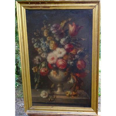 Tableau Bouquet De Fleurs Au Vase Médicis Ecole Française Du XVIIème Siècle Hst