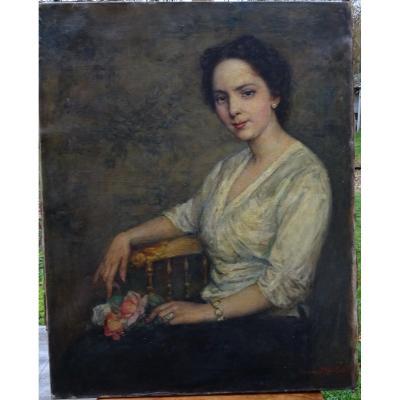 Jeanne Béatrix Maillart Portrait De Femmet Hst école Française Début XXème