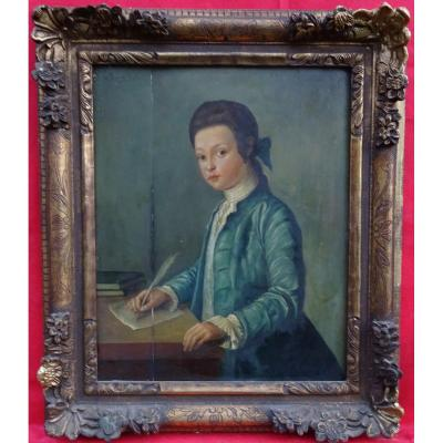 Portrait Of Young Gentleman In Eighteenth Century Writing Oil On Wood (