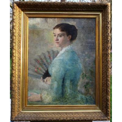 Alfred Pagès Portrait De Femme Ecole Française De La Fin Du XIXème Siècle Hst