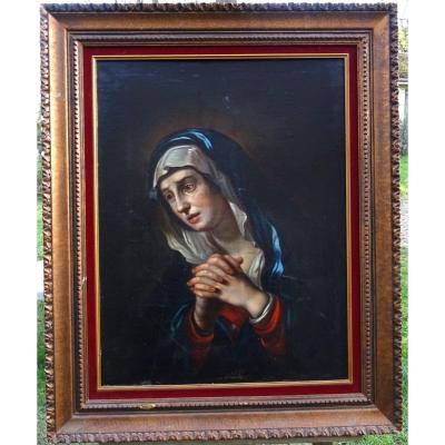 Portrait The Blessed Virgin Mary Weeping French School Of The XIXth Century Hst