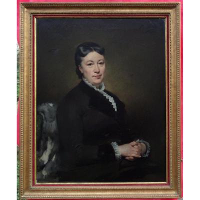 Paul Mathey Grand Portrait De Femme Ecole Français Fin XIXème Siècle Hst