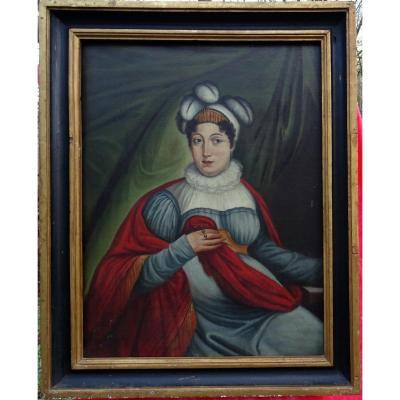 Grand Portrait De Femme Epoque Fin Ier Empire XIXème Siècle Huile/toile Vienne