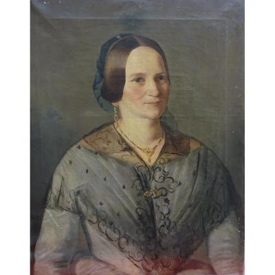 Portrait De Femme Alsacienne Epoque Louis Philippe Hst Du XIXème Siècle