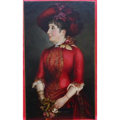 Slatter Large Portrait Of Elegant Woman In Hat Oil / Canvas Dated 1882