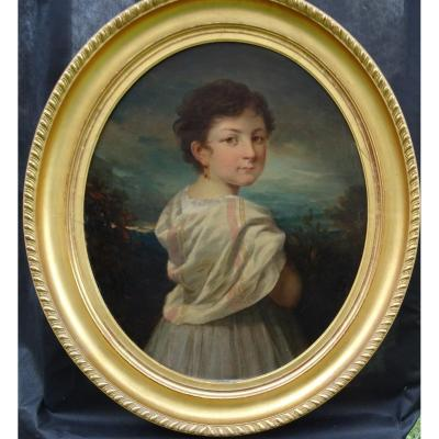 Portrait Of Young Girl Louis Philippe Second Empire H / T XIXth Century