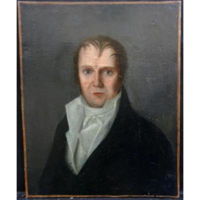 Portrait d'Homme Epoque Ier Empire Ecole Française Début Du XIXème Hst