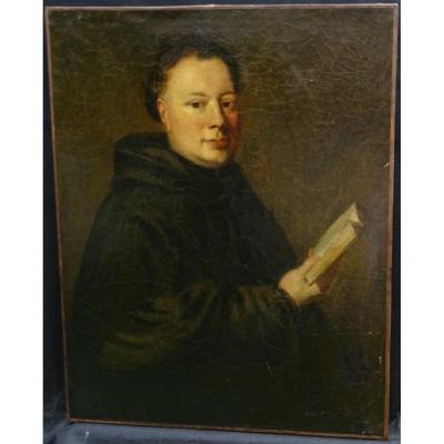 Portrait d'Un Moine Bénédictin à La Lecture Ecole Française H/t XVIIIème Siècle