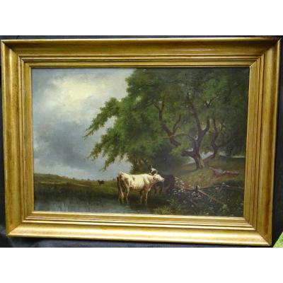 Table Of Cows Animated Landscape Oil On Canvas From The End Of The XIXth Century