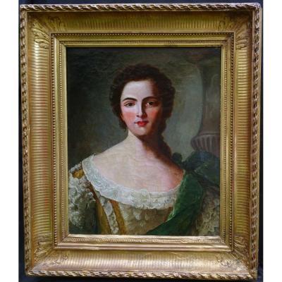 Suiveur De Nattier Portrait De Femme Jane Stanhope Comtesse Hst XVIIIème Siècle