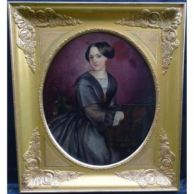 Portrait Of Woman At The Piano Period Second Empire Century Hst Nineteenth