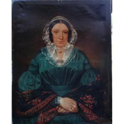 Large Portrait Of Woman Louis Philippe Period French School Debu From The XIXth Hst