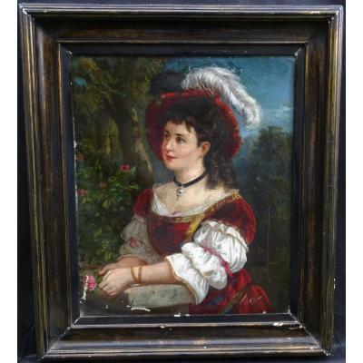 Barns Portrait De Jeune Femme Ecole Anlgaise Fin XVIIIème Déb XIXème Siècle Hst